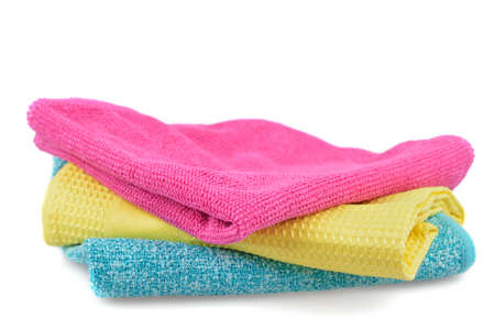 Set of colorful cloths microfiber isolated on white background  Cleaning cloth for different purposes
