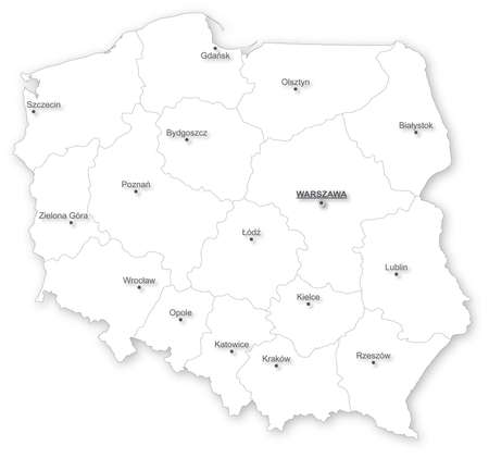 Simple map of Poland with voivodeships and main cities on white  All elements are separated in editable layers clearly labeled