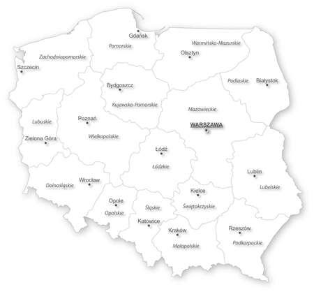 Einfache Karte von Polen mit Woiwodschaften und Städte auf weißem Alle Elemente werden in editierbare Schichten deutlich gekennzeichnet polnischen Etiketten Namen getrennt Lizenzfreie Bilder