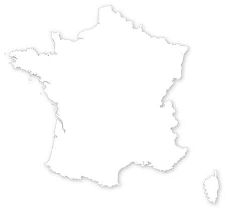 corsica: Simple vector map of France with shadow isolated on white.