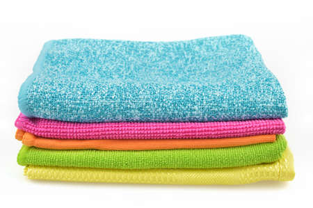 Set of colorful cloths microfiber isolated on white background  Cleaning cloth for different purposes  photo