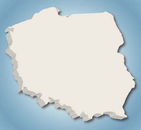 3D vector map of Poland on blue gradient background  Stock Photo