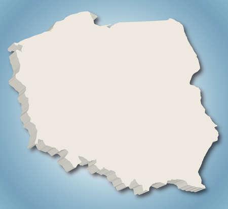 3D-Vektor-Karte von Polen auf blauem Hintergrund mit Farbverlauf Standard-Bild - 20928333