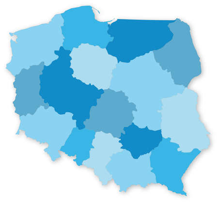 Blue vector map of Poland with voivodeships on white projected in UTM coordinate system  All elements are separated in editable layers clearly labeled  Stock Photo