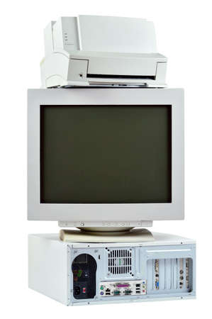 Obsolete PC commuter, printer and CRT monitor  Stack of old, used computer, monitor and printer, electronic waste isolated on white background  photo