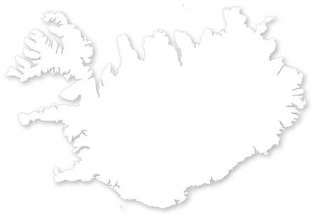 iceland: Vector map of Iceland with shadow. Projected in WGS 84 World Mercator.