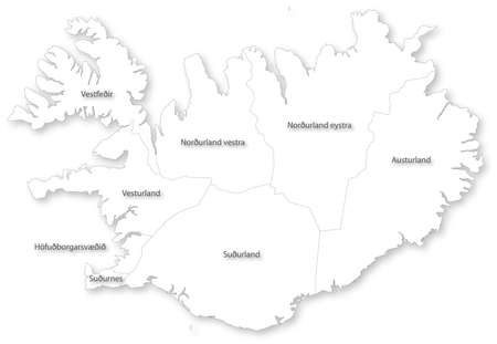 iceland: Vector map of Iceland with regions on white. All elements are separated in editable layers clearly labeled.