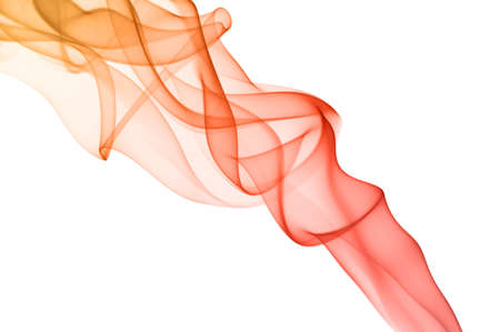 Red smoke on white background  Smooth waves, spectrum colors  photo