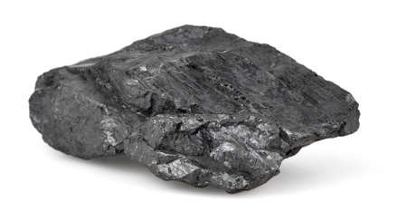 space station: Piece of coal isolated on white background. Stock Photo