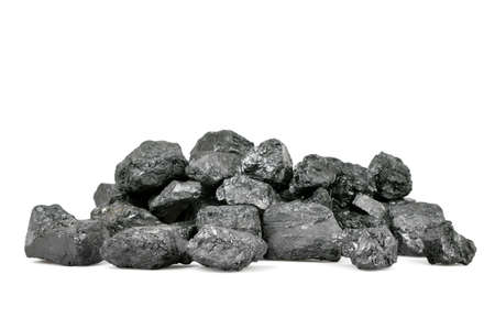 exploitation: Pile of coal isolated on white background.