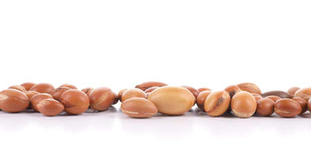 Large group of argan nuts on a white