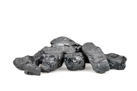 coal fire: Pile of coal isolated on white