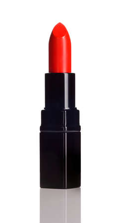 red lipstick: Intense red lipstick on white background  Make-up product