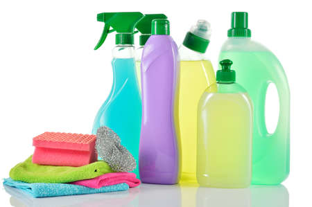 cleaning bathroom: Set of cleaning products  Spray Cleaner, wc cleaner, washing liquid, cream cleaner isolated and cloths and sponge on white background  Stock Photo