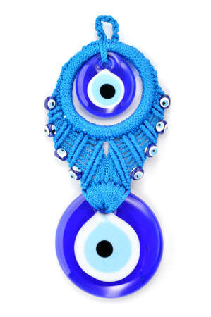 Traditional Turkish amulet Evil Eye or blue eye  Souvenir of Turkey isolated on white background  Standard-Bild