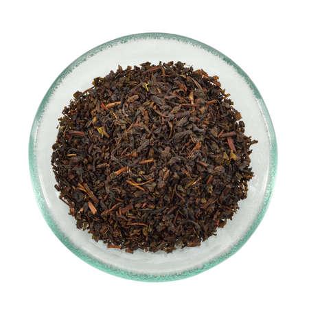 pekoe: Nuwara Eliya Pekoe leaf black Tea  Delicate Ceylon tea isolated on white background  Stock Photo