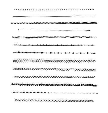 dibujos lineales: Tinta vector línea fronteriza conjunto dibujado a mano y elementos de diseño garabatos Vectores