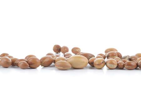 Large group of argan nuts on a white background  Plenty of copy space  Horizontal studio shot