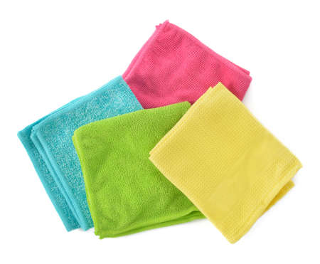 Set of colorful microfiber cleaning cloths isolated on white background  Cleaning cloth for different purposes