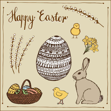 Ink hand-drawn vector Easter set  photo