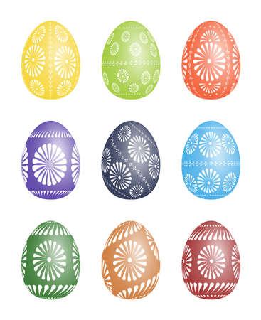 kelet európa: Pysanky - a hagyományos kelet-európai díszített viasz húsvéti tojás vektoros illusztráció fölött fehér háttér