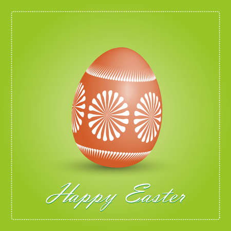 eastern europe: Happy Easter card illustration with egg on green background  Traditional eastern Europe egg decorated with wax Easter Eggs