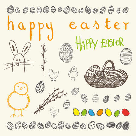 eggs in basket: Ink hand-drawn doodle Happy Easter set