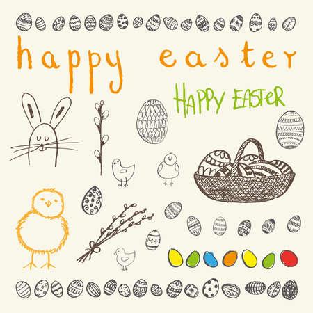 osterei: Ink Hand gezeichnet Doodle Frohe Ostern eingestellt