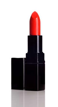 lipstick tube: Intense red lipstick on white background  Make-up product
