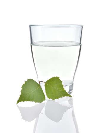 sap: Birch sap in a glass and birch leaves isolated on white background  Natural healthy birch juice  Traditional beverage  Stock Photo