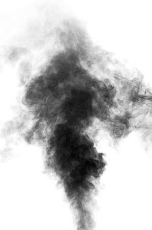 Black steam looking like smoke isolated on white background  Big cloud of black smoke
