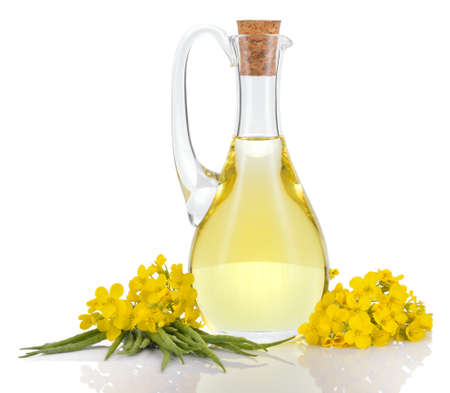 Rapeseed oil in decanter oilseed rape flowers and seeds isolated on white background Canola oil