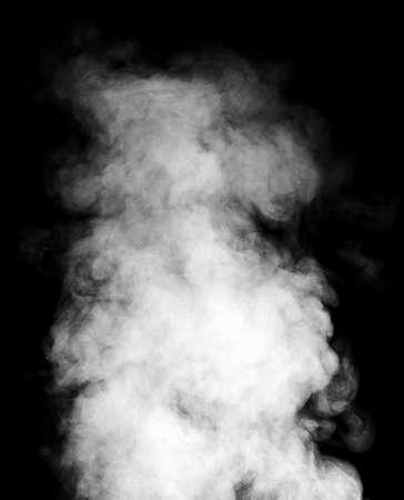 vapore acqueo: Reale vapore bianco isolato su sfondo nero con gocce visibili