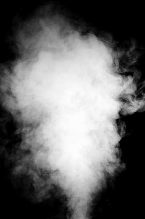 Real white steam isolated on black background with visible droplets