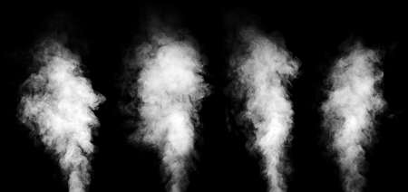 Set of real white steam isolated on black background with visible droplets  Banque d'images