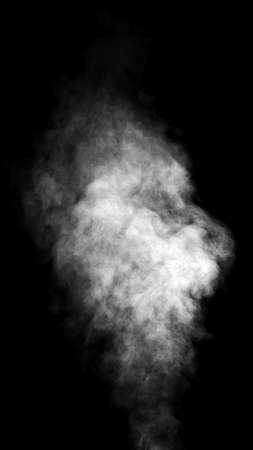 smoke effect: Real white steam isolated on black background with visible droplets