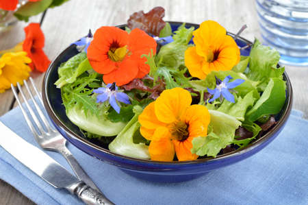 Fresh summer salad with edible flowers nasturtium, borage flowers in a bowl.