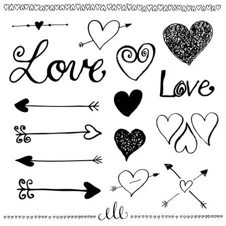 aniversary: Ink hand-drawn doodle love set.