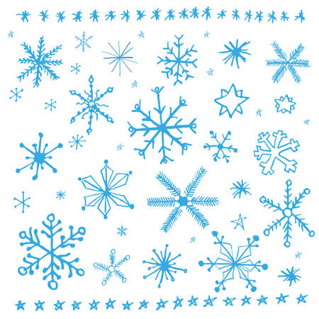 hand drawing: Snowflake doodle graphic hand-drawn set. Winter vector illustration.