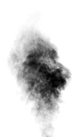 Black steam looking like smoke isolated on white background. Big cloud of black smoke. Stock Photo