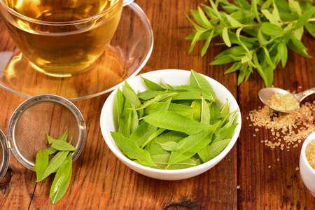 Lemon verbena lascia sulla ciotola bianca e tè verbena sul tavolo di legno. Aloysia citriodora. Archivio Fotografico