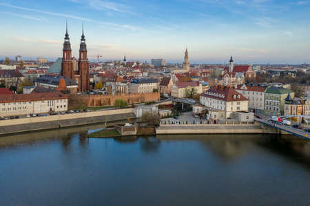 Opole, aerial view of Old Town. Poland, autumn day. Drone  shot. Banco de Imagens