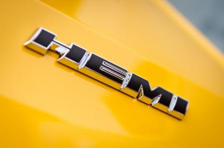 dodge: Decatur, Illinois, July 1 2012 - Dodge Hemi Emblem on yellow Dodge Challenger