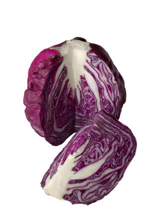 Head of red cabbage with cut-out quarter, isolated on white background