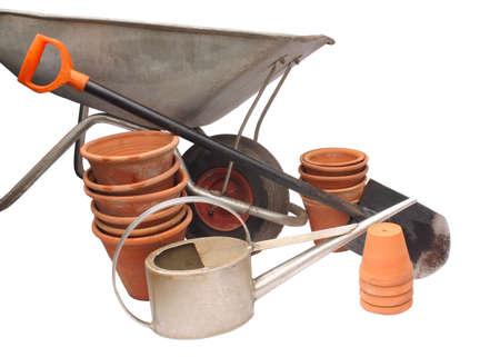 Gardening tools on white background, isolated Stock Photo