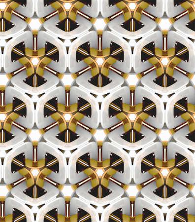 3D 현실적인 질감, 흰색과 금색 볼륨 큐브, 3D 형상 벽지 스톡 콘텐츠