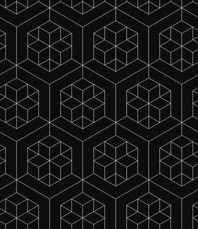 검은 배경에 흰색 선형 패턴, 3D 형상 상자 원활한 패턴 스톡 콘텐츠