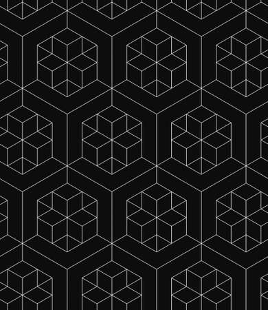 white linear pattern on a black background, 3D geometric boxes seamless pattern
