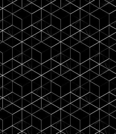 선형 장식, 배경 검은 백그라운드에 흰색 선형 메쉬 패턴 3D geometric seamless pattern