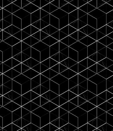 white linear mesh pattern on a black background, linear ornament, background 3D geometric seamless pattern